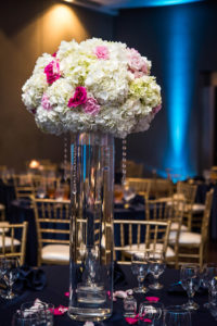 Centerpieces, Tall with Navy Linen - Copy - Copy